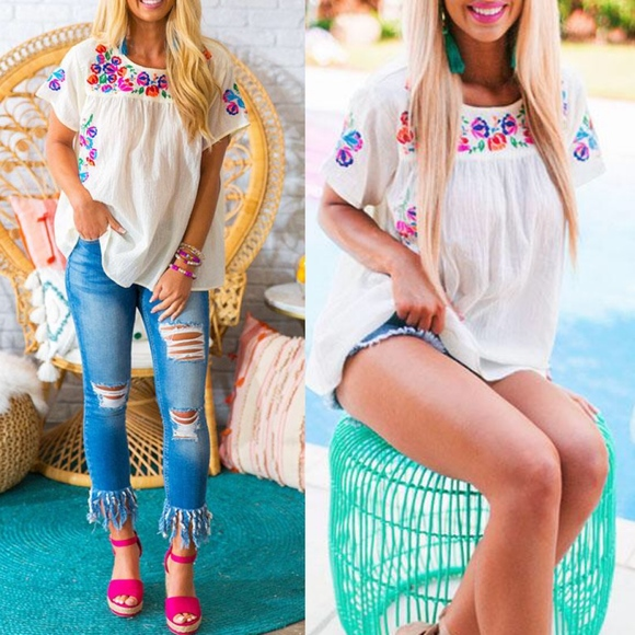 Bellanblue Tops - Floral Embroidered Top